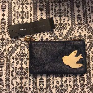 Navy blue marc Jacobs coin purse wallet bird nwt